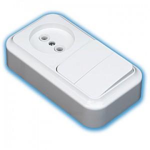 Блок электроустановочный открытой проводки- выключатель двухклавишный+розетка