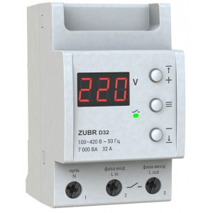 Реле контроля напряжения 32А ZUBR D32