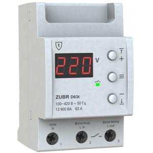 Реле контроля напряжения 63А ZUBR D63t