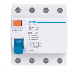 Устройство защитного отключения (УЗО) 4 полюса 25А 300мА тип АС Chint серии NL1