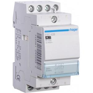 Контактор модульный стандарт 25 А с катушкой на 230 В АС 3Н.О. 1Н.С. HAGER ESC428