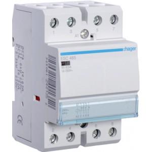 Контактор модульный стандарт 63 А с катушкой на 230 В АС 3Н.О. 1Н.С. HAGER ESC465
