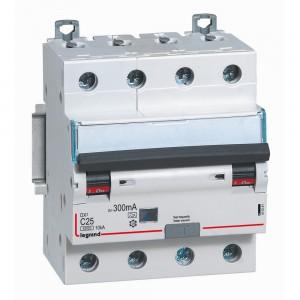 Автоматический выключатель дифференциального тока 4 полюса C10A 30мА тип АC 6кА Legrand серии DX³