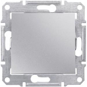 Выключатель 1-клавишный алюминий SEDNA SDN0100160