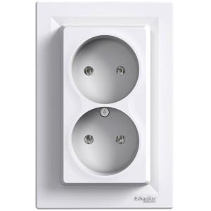 Розетка двойная белая Schneider Electric серии Asfora