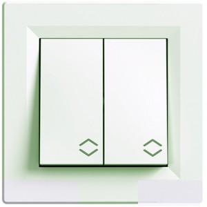 Выключатель 2-клавишный проходной белый Schneider Electric серии Asfora