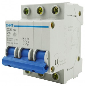 Автоматический выключатель CHINT Dz47-60 3 полюса 6A тип D 4,5кА